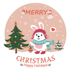 Vintage Christmas poster design with vector rabbit, Santa Claus, snowman characters.