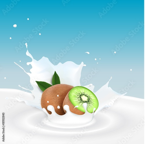 Milk splash with kiwi fruits