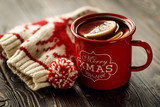 Mulled wine in red mug - 181108264