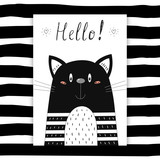 Hello card. Hand Drawn cute Funny cat. Printable template