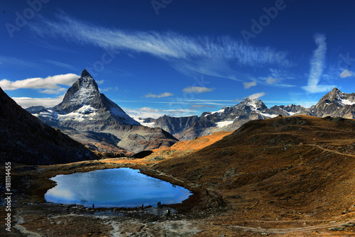 Mt Matterhorn reflected in Riffelsee Lake Zermatt Canton of Valais Switzerland
