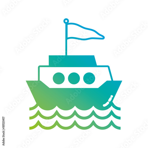 Foto op Canvas Groene koraal silhouette ship transportation with flag design and waves