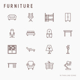 Furniture concept thin line icons set of coach, bookcase, bed,  dresser, chair, lamp, floor hanger. Modern vector illustration. - 181121418