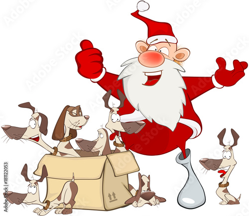 Papiers peints Chambre bébé Cartoon Illustration of a Cute Santa Claus and a Box of Puppies. Cartoon Character