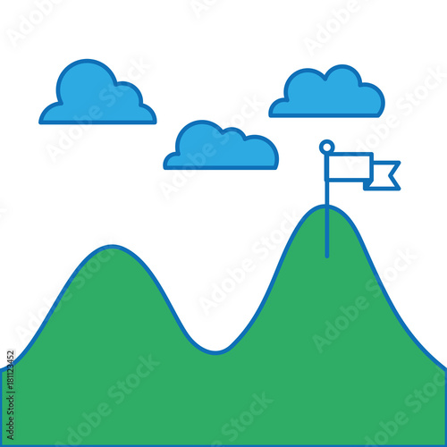 Foto op Canvas Wit landscape with mountains and clouds in the sky and flag design