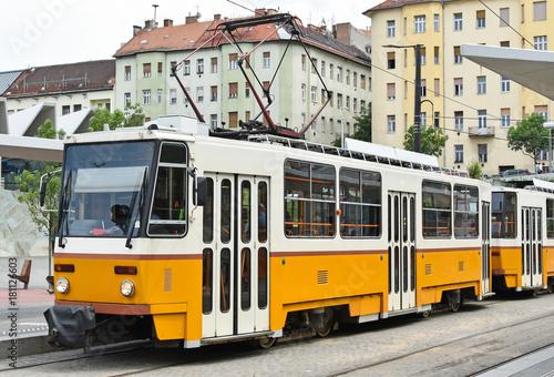 In de dag Boedapest Tram at Budapest city, Hungary