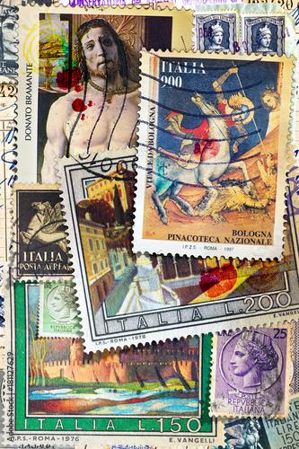Foto op Canvas Imagination Vecchi francobolli italiani