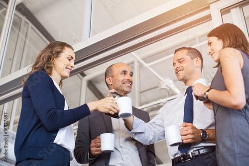 Sticker Business people drinking coffee