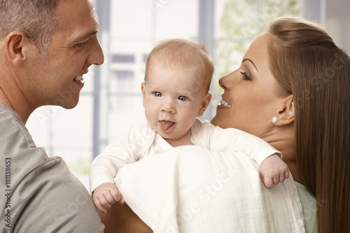 Newborn baby sticking tongue Poster
