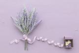 Lavender flower on purple wooden background. - 181140021
