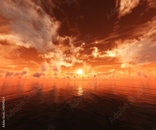Poster Oranje eclat beautiful sunset at the sea, sunrise in the ocean, sky and water