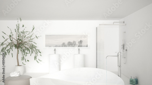 Poster Modern classic bathroom close up on large bath tub, big shower and double sink, minimalistic white interior design