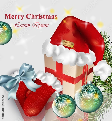 Christmas card with gifts and baubles Vector