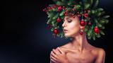 Christmas Girl Makeup. Winter hairstyle - 181148469