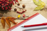 notepad on the spring and pens,  wooden countertop,  autumn still-life - 181151281
