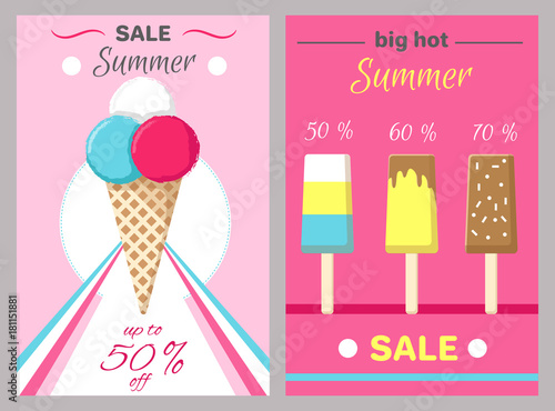 Hot Summer Posters Set with Ice Cream Vector - 181151881