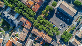 Aerial top view of residential area houses roofs and streets from above, old medieval town background, France  - 181154869