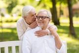 happy senior couple sitting on bench at park - 181155631