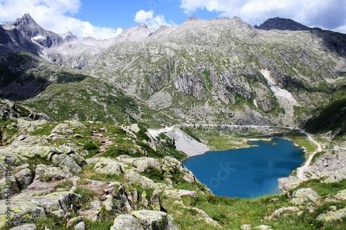Foto op Plexiglas Khaki paesaggio lago montagna natura rocce prato verde