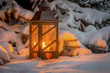 lantern for christmas in the snow - 181158252