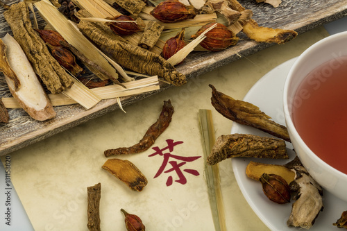 Deurstickers Koffie tea for traditional chinese medicine