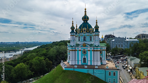 Fridge magnet Aerial top view of Saint Andrew's church and Andreevska street from above, cityscape of Podol district, city of Kiev (Kyiv), Ukraine