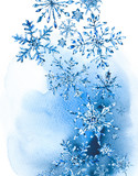 Watercolor winter greeting card with snowflakes - 181160605