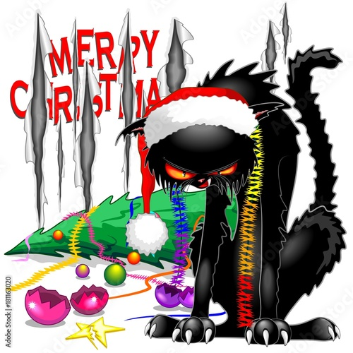 Foto op Canvas Draw Evil Black Cat Broken Christmas Tree