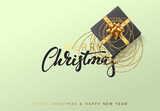 Merry Christmas and Happy New Year illustration with a gift box entwined with golden beads. - 181163221