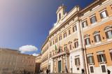 Facade of the Montecitorio Palace in Rome - 181166255
