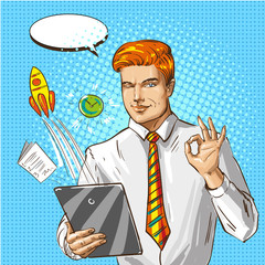 Vector pop art illustration of businessman with tablet gesturing