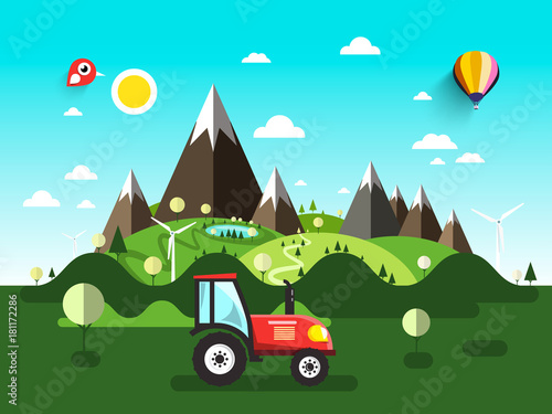 Foto op Canvas Turkoois Field with Tractor. Flat Design Vector Landscape.