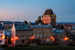 Old Town of Quebec city, with Chateau Frontenac in background at twilight, Quebec city, Canada