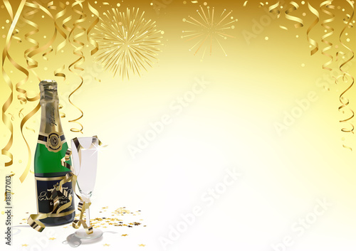 gold happy new year background with champagne golden confetti ribbons and fireworks abstract