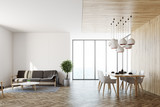 White living room interior, sofa and table - 181182465