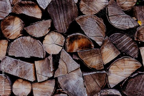 Foto op Canvas Brandhout textuur Holzstücke