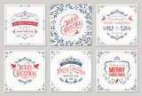 Ornate square winter holidays greeting cards with typographic design, reindeers, Christmas Doves, floral and swirl frames.  - 181186095