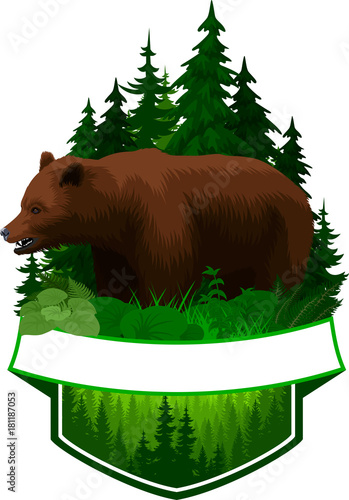 Staande foto Groene vector woodland emblem with brown grizzly bear