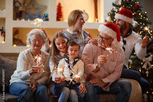 Family together with sparkles for New Year