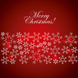 merry christmas greeting card snowflake glow red background vector illustration - 181190447