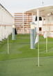 Artificial putting green course on cruise ship deck