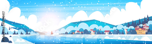 In de dag Pool Winter Landscape Of Small Village Houses On Banks Of Froze River And Mountain Hills Covered With Snow Horizontal Banner Flat Vector Illustration