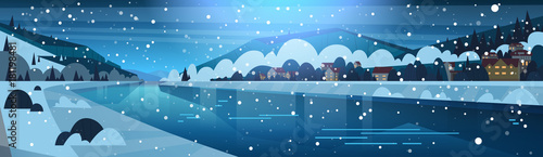 Foto op Canvas Blauwe jeans Winter Landscape Of Night In Small Village On Banks Of Frozen River And Mountain Hills Covered With Snow Horizontal Banner Flat Vector Illustration