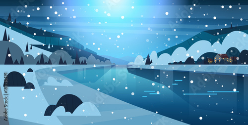 Foto op Canvas Pool Night Winter Nature Landscape Houses On Frozen River Hills And Falling Snow Flat Vector Illustration