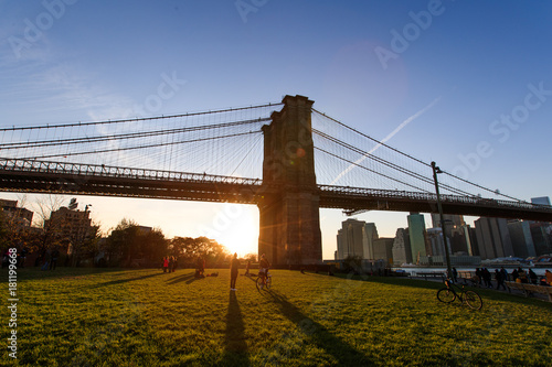 Foto op Aluminium Brooklyn Bridge New York Sunset