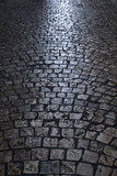 old cobblestone street at night vertical
