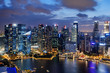Amazing night view of skyscrapers at downtown of Singapore