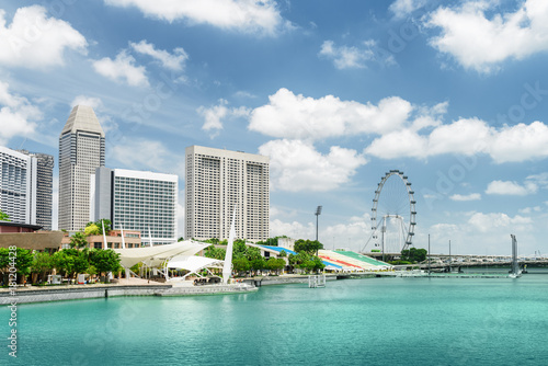 Beautiful view of modern buildings and Marina Bay in Singapore