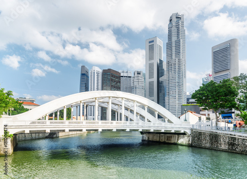 Fridge magnet Beautiful view of white bridge over the Singapore River