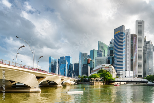 Scenic view of skyscrapers and the Singapore River in downtown
